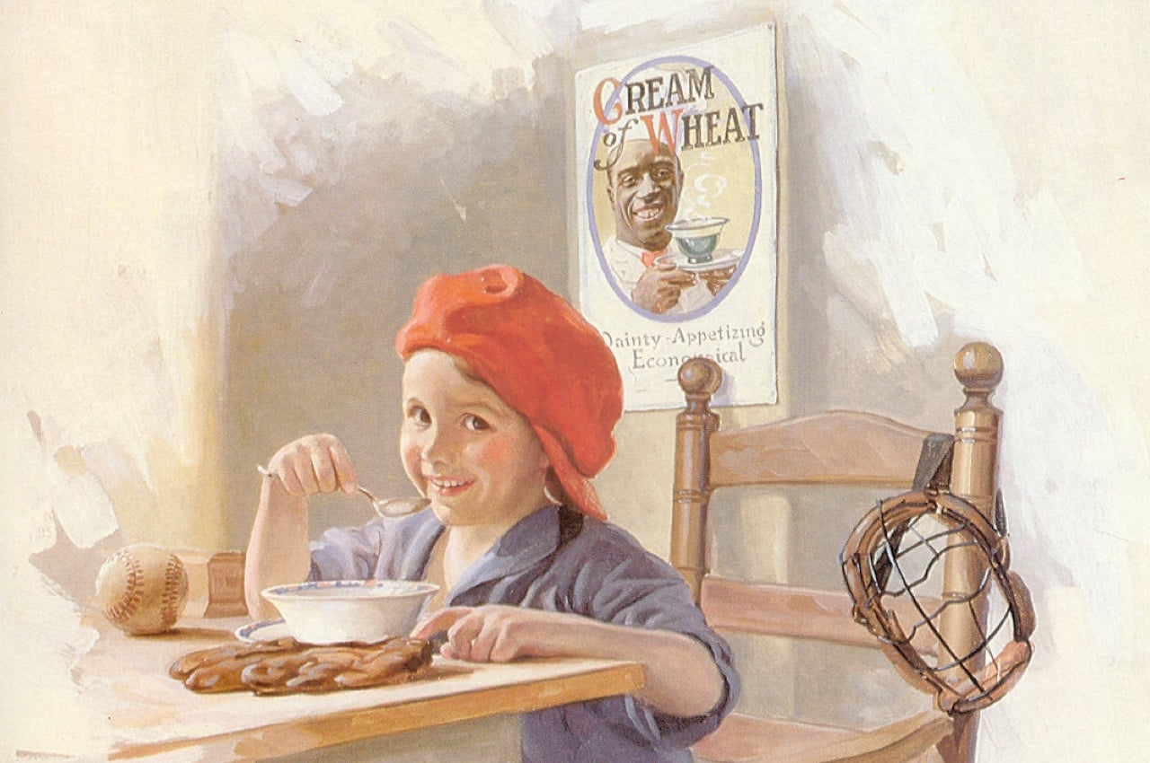 Vintage Cream of Wheat ad with young girl enjoying Cream of Wheat.